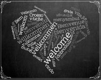Welcome Chalkboard Wall Art Stock Photo