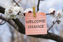 Welcome change in memo. Pined on tree with blooms Royalty Free Stock Photo