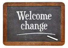 Welcome change phrase on blackboard Royalty Free Stock Image