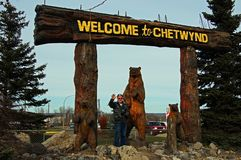 Welcome Chetynd British Columbia, Canada Sign. Welcome to Chetynd British Columbia, Canada Sign. Home of World Class Chainsaw Carving royalty free stock images