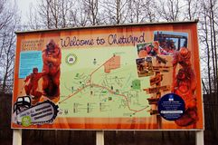 Welcome Chetynd British Columbia, Canada Sign. Welcome to Chetynd British Columbia, Canada Sign. Home of World Class Chainsaw Carving royalty free stock photo
