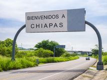 Welcome in Chiapas road sign Royalty Free Stock Images