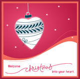 Welcome Christmas into your heart. Illustration of Christmas decoration shaped as a heart Royalty Free Stock Photos