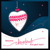 Welcome Christmas into your heart. Illustration of Christmas decoration shaped as a heart Stock Photos
