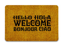 Welcome cleaning foot carpet. Brown welcome carpet, welcome doormat carpet isolated on white Royalty Free Stock Photography