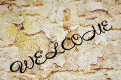 Welcome. CLose up of grunge Welcome Royalty Free Stock Photo