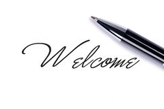 Welcome. Close up Welcome on white background Stock Image