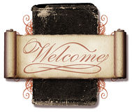 Welcome Collage. This is a vintage collage with a scroll, an old book and a welcome message stock illustration