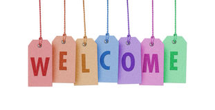 WELCOME. On colourful label white backgraund Stock Photography
