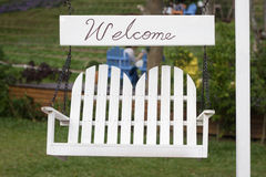 Welcome, Come in, Come in!. A Welcome Sign that invites people to come in and relax stock image