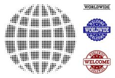 Welcome Composition of Halftone Globe and Scratched Stamps stock illustration