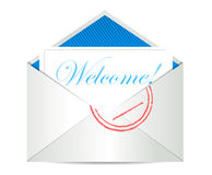 Welcome concept with open blank airmail envelope Stock Photo