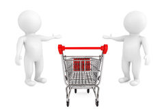 Welcome concept. Shopping Cart with 3d persons welcome and invit Royalty Free Stock Photos