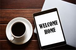 WELCOME Concept On the tablet stock photos