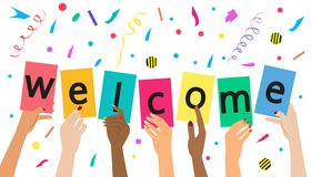 `Welcome` concept on white background stock illustration