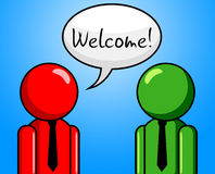 Welcome Conversation Indicates Chit Chat And Arrival Stock Photography