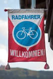 Welcome cyclist. Symbol of welcome for cyclists in Austria Royalty Free Stock Image