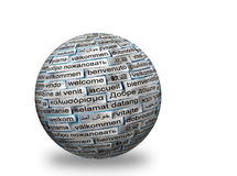 Welcome 3d ball. Welcome Word Cloud in different languages on 3d sphere stock photo