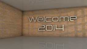 Welcome 2014. 3d design. Welcome 2014, walls and floor Stock Photo