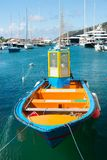 Welcome on the deck. Sea journey and water entertainment. Bright boat at sea port st.barts tropical island. Summer. Vacation. Explore sea boat excursions royalty free stock photos