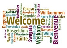 Welcome in different languages wordcloud vector Royalty Free Stock Images