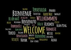 Welcome in different languages wordcloud vector on black background stock illustration