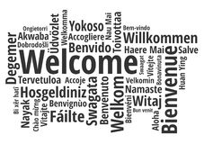Welcome in different languages wordcloud vector. Welcome in different languages wordcloud black on white vector Royalty Free Stock Images