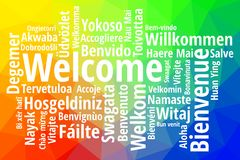 Welcome in different languages wordcloud vector. Welcome in different languages wordcloud colorful vector Stock Photo