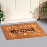 Welcome door Mat on a White Background Placed outside door. With Plant stock photography
