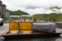 Welcome drinks with towels. For customers in the resort stock photo