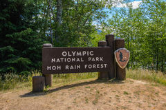 Welcome entrance sign in the Olympic National Park, Washington USA Royalty Free Stock Image