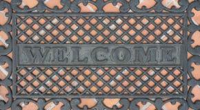 Welcome exterior floor mat Stock Photography