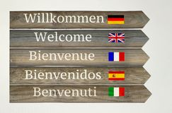 Welcome in five languages on the Signboard Royalty Free Stock Photography