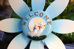 Welcome flower. Blue flower , message on flower stock photos