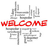 Welcome Foreign Language Word Cloud in Red & Black Stock Photo