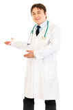 Welcome! Friendly doctor inviting to cooperation Stock Images