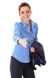 Welcome gesture, businesswoman in handshake pose Stock Photos
