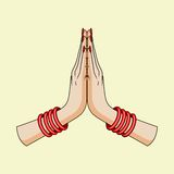Welcome gesture of hands of Indian woman. In vector Stock Image