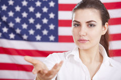 Welcome gesture over american flag Stock Photo