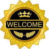 Welcome Gold Badge Royalty Free Stock Photo