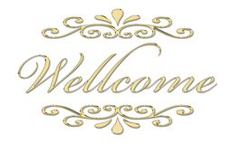 Welcome in gold letters Stock Photo