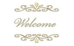 Welcome in gold letters Stock Images