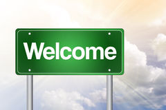 Welcome Green Road Sign Stock Images