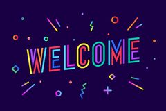 Welcome. Greeting card, banner, poster and sticker concept Stock Illustration