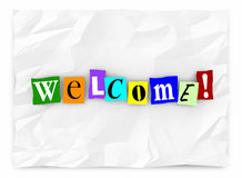 Welcome Greeting Introduction Words Letters. 3d Illustration Stock Photo