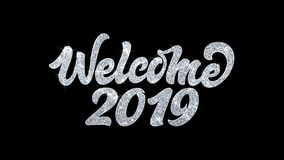 Welcome 2019 blinking text wishes particles greetings, invitation, celebration background royalty free illustration