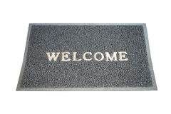 Welcome grey mat isolated on white Stock Photography