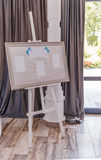 Guest board with blue ribbon at celebration hall Royalty Free Stock Image