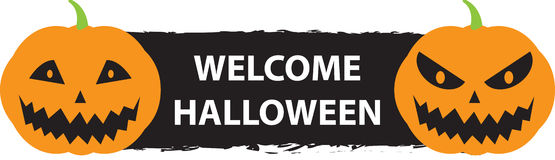 Welcome Halloween sign with two scary pumpkins Royalty Free Stock Image