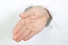 Welcome hand through. Stock Photography